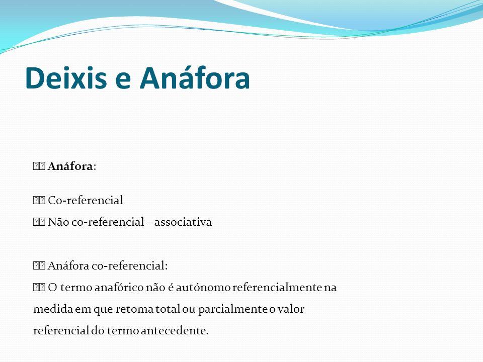 Deixis e Anáfora Anáfora: Co-referencial Não co-referencial – associativa Anáfora co-referencial: O termo anafórico não é autónomo referencialmente na
