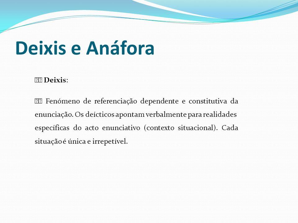 Deixis e Anáfora Deixis: Fenómeno de referenciação dependente e constitutiva da enunciação. Os deícticos apontam verbalmente para realidades específic