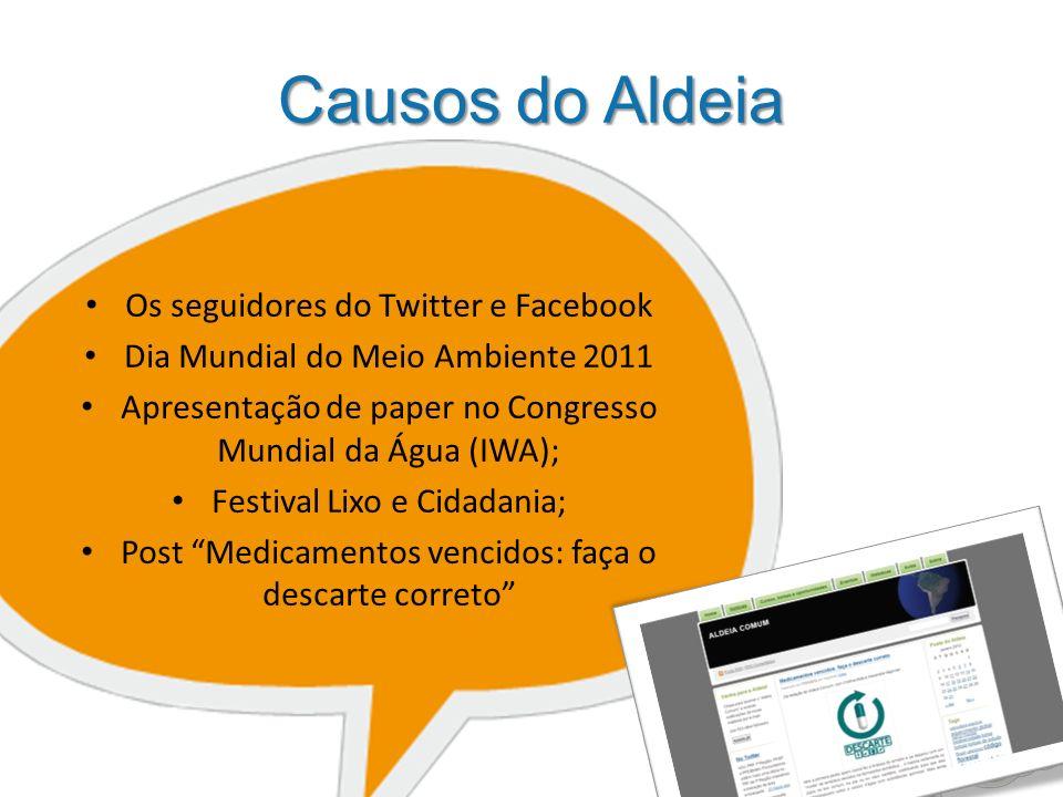 Causos do Aldeia Os seguidores do Twitter e Facebook Dia Mundial do Meio Ambiente 2011 Apresentação de paper no Congresso Mundial da Água (IWA); Festival Lixo e Cidadania; Post Medicamentos vencidos: faça o descarte correto