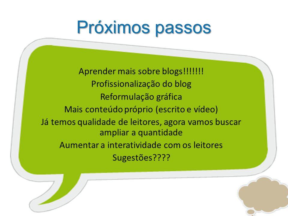 Próximos passos Aprender mais sobre blogs!!!!!!.