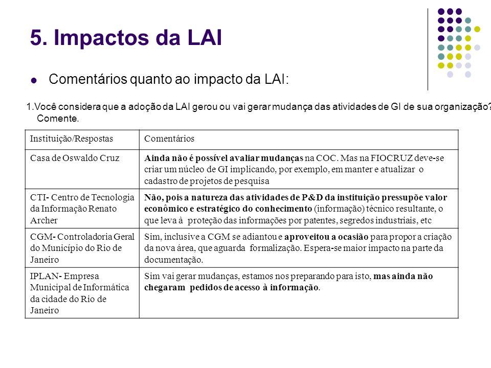 5. Impactos da LAI Comentários quanto ao impacto da LAI: 1.Você considera que a adoção da LAI gerou ou vai gerar mudança das atividades de GI de sua o