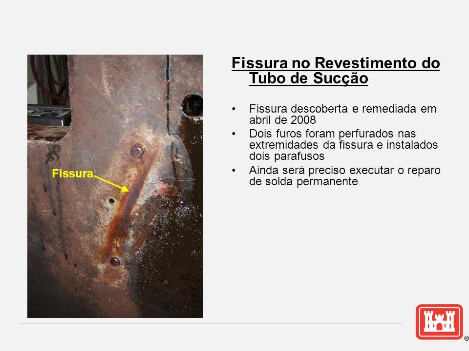 Fissura Fissura no Revestimento do Tubo de Sucção Fissura descoberta e remediada em abril de 2008 Dois furos foram perfurados nas extremidades da fiss