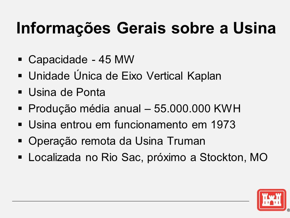 Informações Gerais sobre a Usina Capacidade - 45 MW Unidade Única de Eixo Vertical Kaplan Usina de Ponta Produção média anual – 55.000.000 KWH Usina e