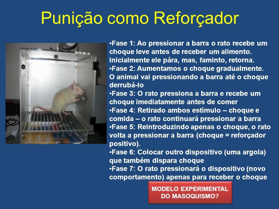 Punição como Reforçador Fase 1: Ao pressionar a barra o rato recebe um choque leve antes de receber um alimento. Inicialmente ele pára, mas, faminto,