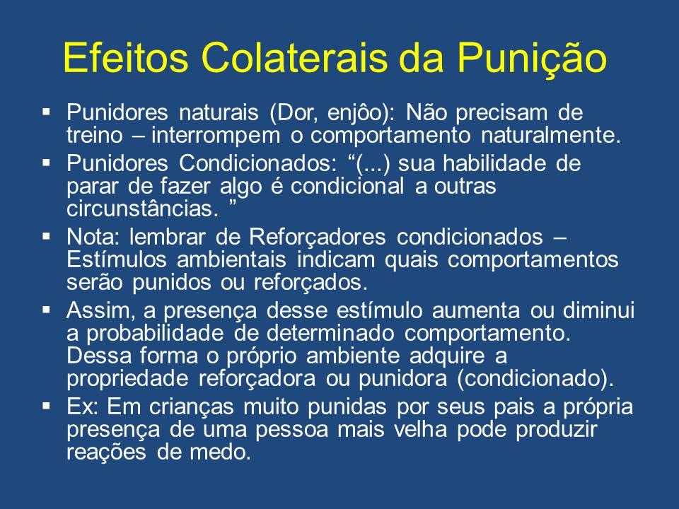 Efeitos Colaterais da Punição Punidores naturais (Dor, enjôo): Não precisam de treino – interrompem o comportamento naturalmente. Punidores Condiciona