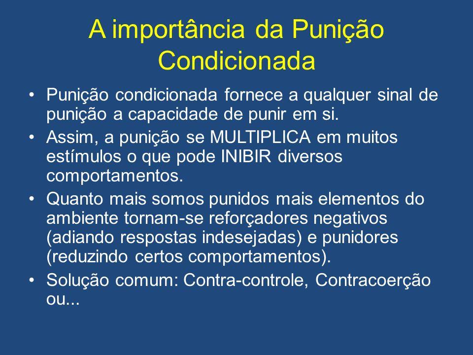 A importância da Punição Condicionada Punição condicionada fornece a qualquer sinal de punição a capacidade de punir em si. Assim, a punição se MULTIP