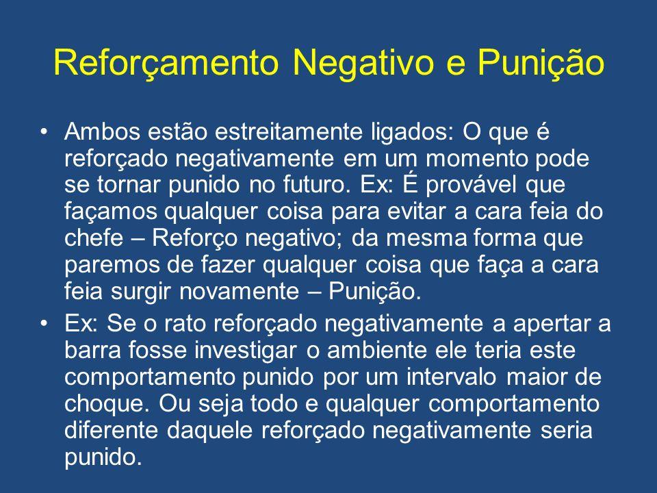 Reforçamento Negativo e Punição Ambos estão estreitamente ligados: O que é reforçado negativamente em um momento pode se tornar punido no futuro. Ex: