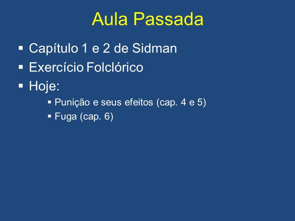 Aula Passada Capítulo 1 e 2 de Sidman Exercício Folclórico Hoje: Punição e seus efeitos (cap. 4 e 5) Fuga (cap. 6)