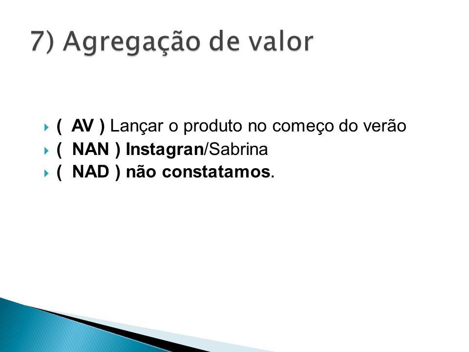 ( AV ) Lançar o produto no começo do verão ( NAN ) Instagran/Sabrina ( NAD ) não constatamos.