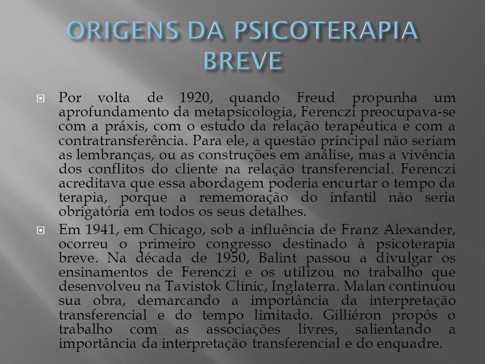 Por volta de 1920, quando Freud propunha um aprofundamento da metapsicologia, Ferenczi preocupava-se com a práxis, com o estudo da relação terapêutica