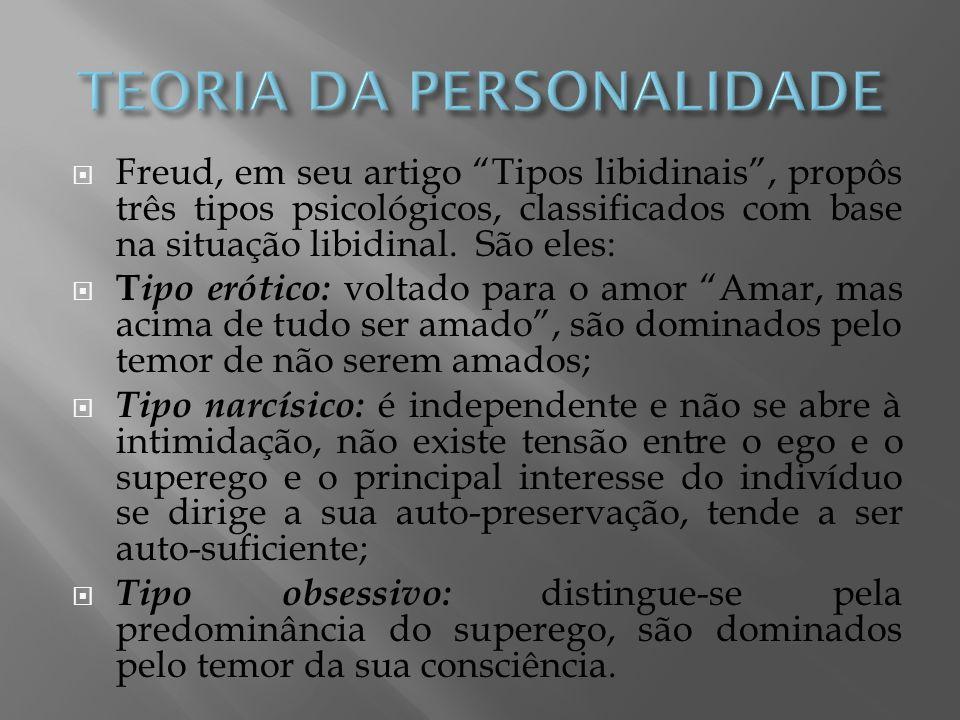 Freud, em seu artigo Tipos libidinais, propôs três tipos psicológicos, classificados com base na situação libidinal. São eles: T ipo erótico: voltado