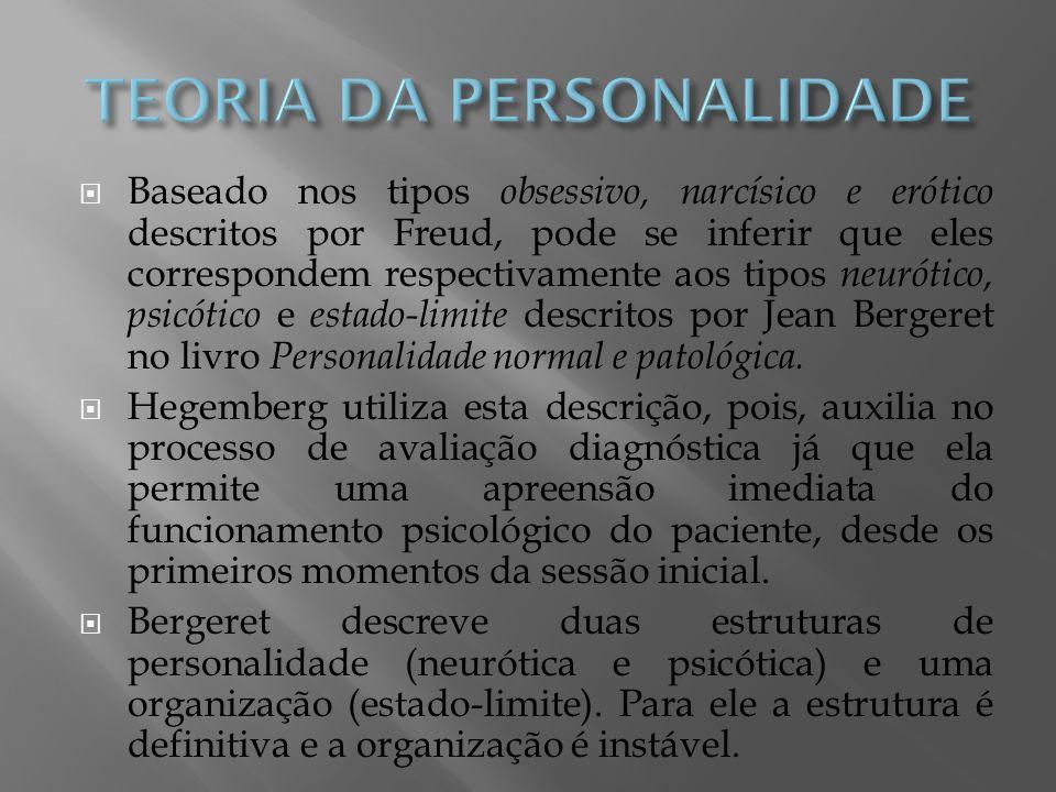 Baseado nos tipos obsessivo, narcísico e erótico descritos por Freud, pode se inferir que eles correspondem respectivamente aos tipos neurótico, psicó