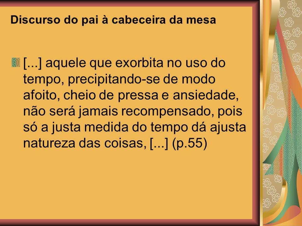 Discurso do pai à cabeceira da mesa [...] aquele que exorbita no uso do tempo, precipitando-se de modo afoito, cheio de pressa e ansiedade, não será jamais recompensado, pois só a justa medida do tempo dá ajusta natureza das coisas, [...] (p.55)