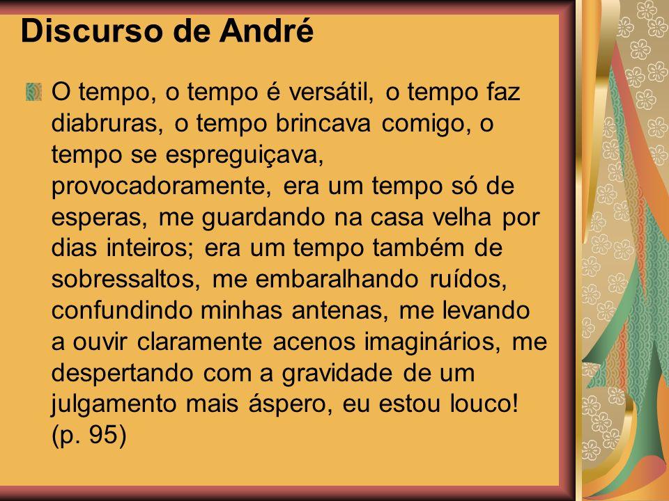 Discurso de André O tempo, o tempo é versátil, o tempo faz diabruras, o tempo brincava comigo, o tempo se espreguiçava, provocadoramente, era um tempo