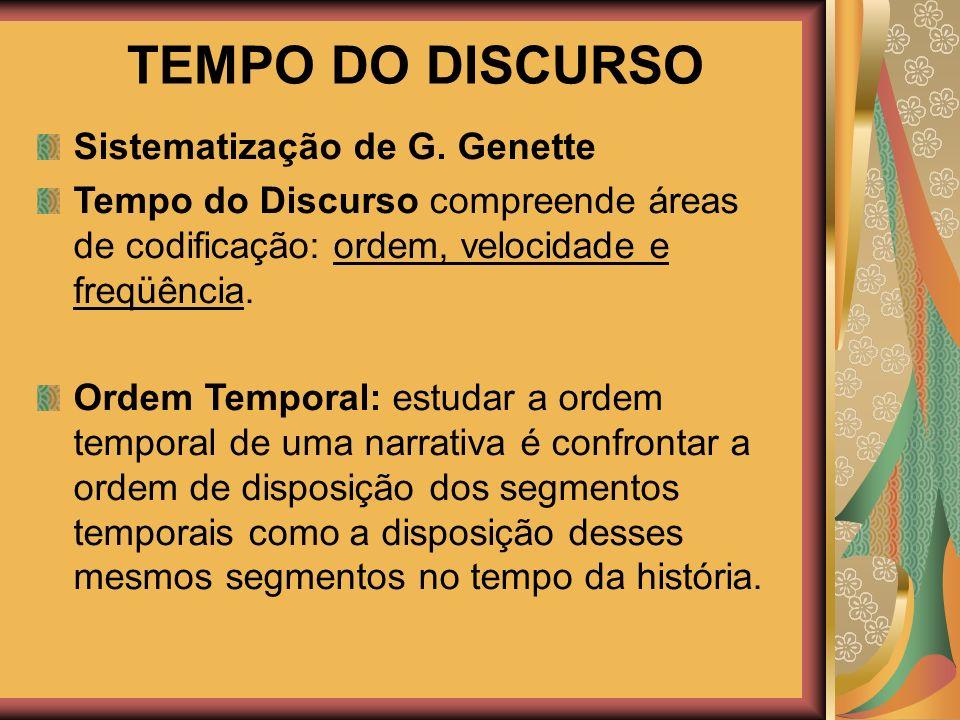 TEMPO DO DISCURSO Sistematização de G. Genette Tempo do Discurso compreende áreas de codificação: ordem, velocidade e freqüência. Ordem Temporal: estu