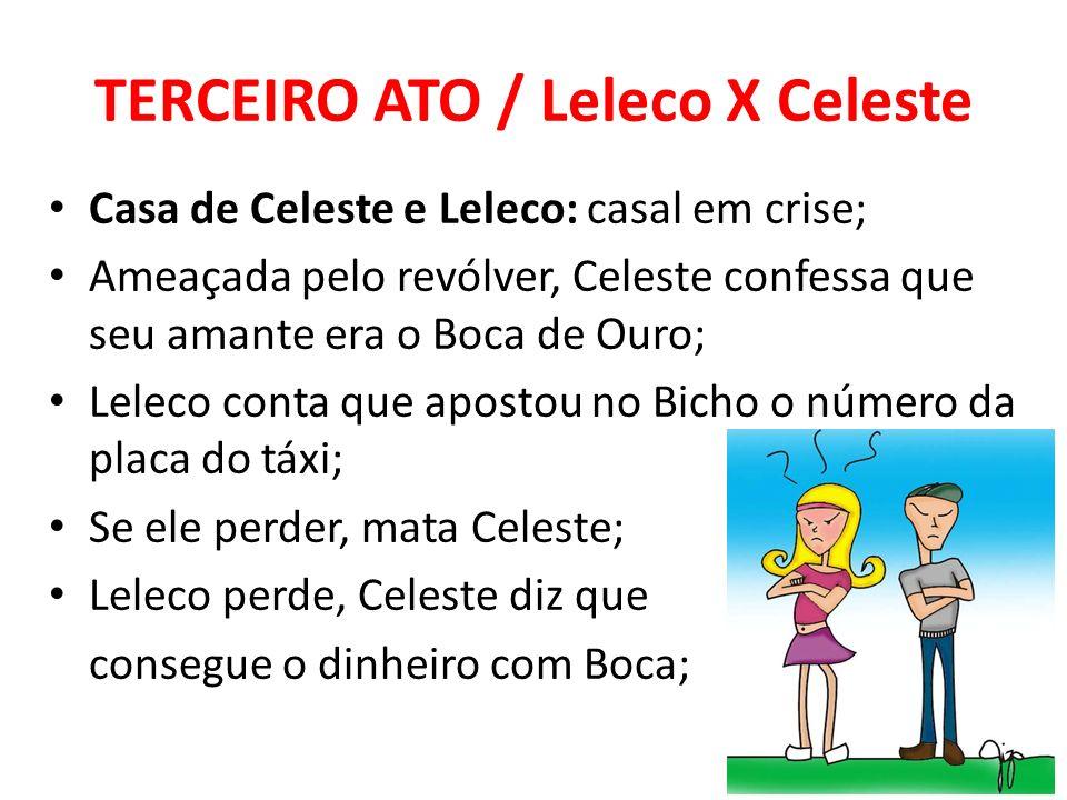 TERCEIRO ATO / Leleco X Celeste Casa de Celeste e Leleco: casal em crise; Ameaçada pelo revólver, Celeste confessa que seu amante era o Boca de Ouro;