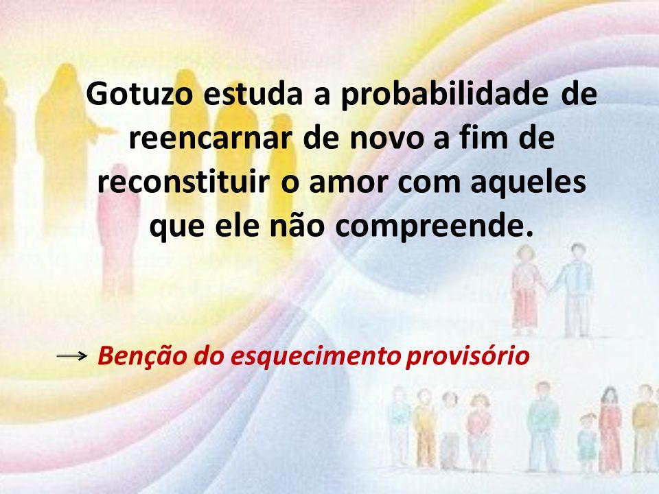 Gotuzo estuda a probabilidade de reencarnar de novo a fim de reconstituir o amor com aqueles que ele não compreende. Benção do esquecimento provisório