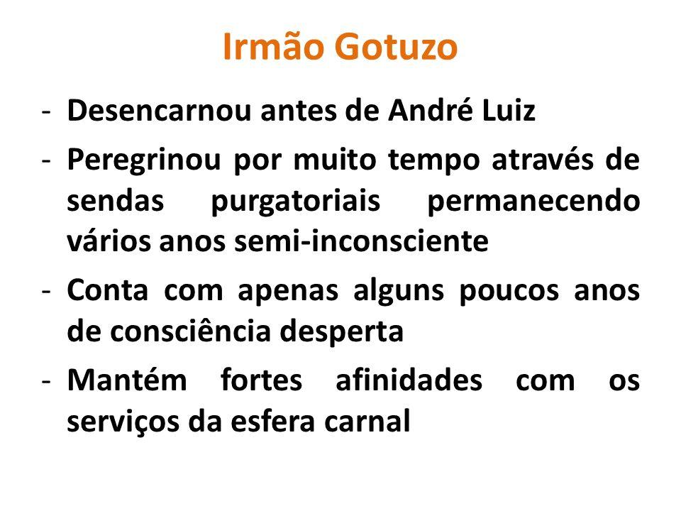 Irmão Gotuzo -Desencarnou antes de André Luiz -Peregrinou por muito tempo através de sendas purgatoriais permanecendo vários anos semi-inconsciente -C