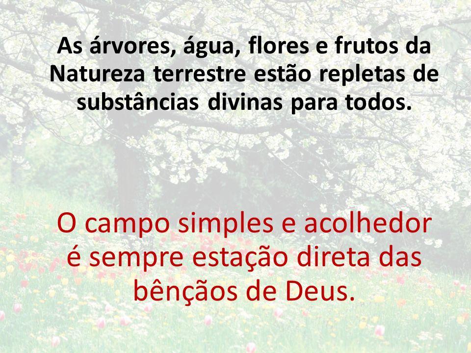 As árvores, água, flores e frutos da Natureza terrestre estão repletas de substâncias divinas para todos. O campo simples e acolhedor é sempre estação