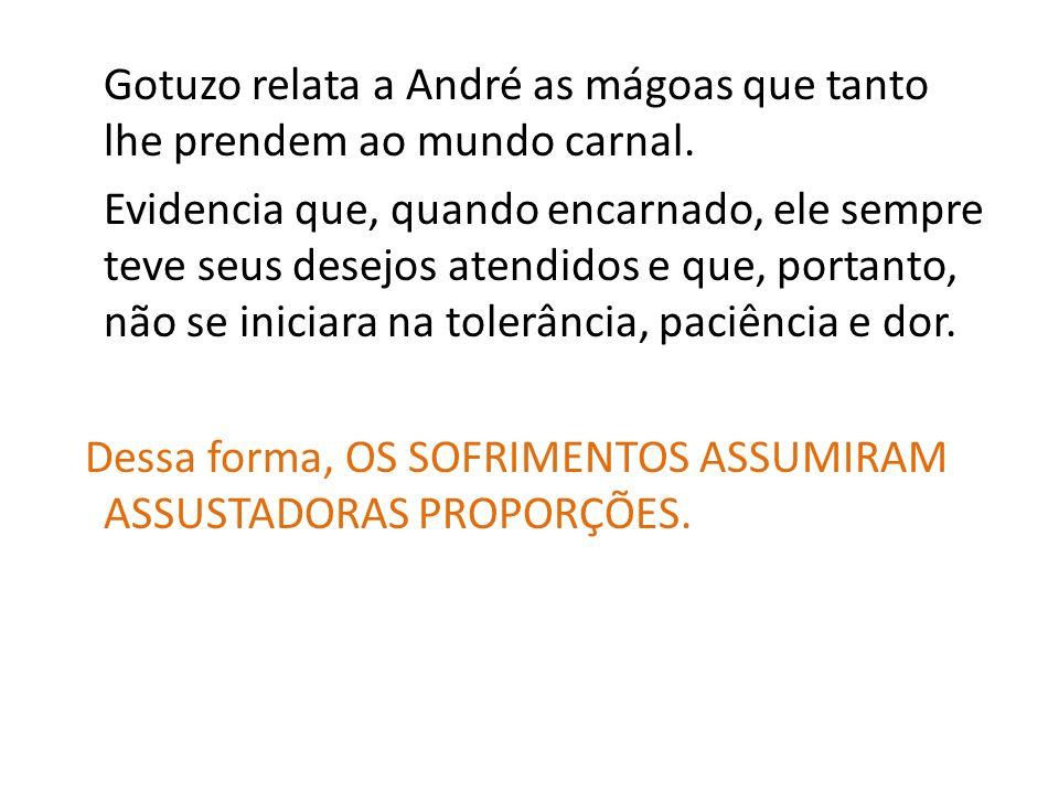 Gotuzo relata a André as mágoas que tanto lhe prendem ao mundo carnal. Evidencia que, quando encarnado, ele sempre teve seus desejos atendidos e que,