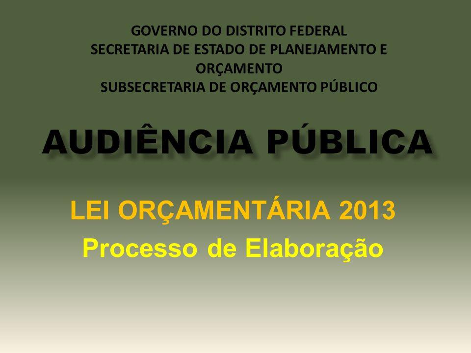 LEI ORÇAMENTÁRIA 2013 Processo de Elaboração GOVERNO DO DISTRITO FEDERAL SECRETARIA DE ESTADO DE PLANEJAMENTO E ORÇAMENTO SUBSECRETARIA DE ORÇAMENTO P