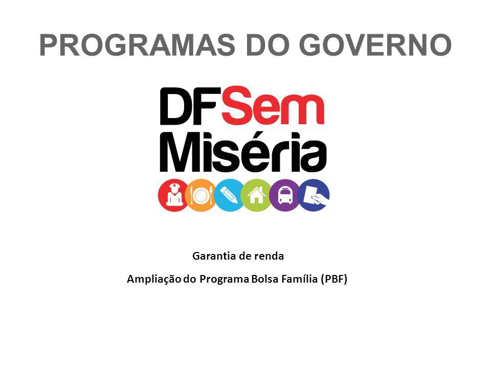 PROGRAMAS DO GOVERNO Garantia de renda Ampliação do Programa Bolsa Família (PBF)
