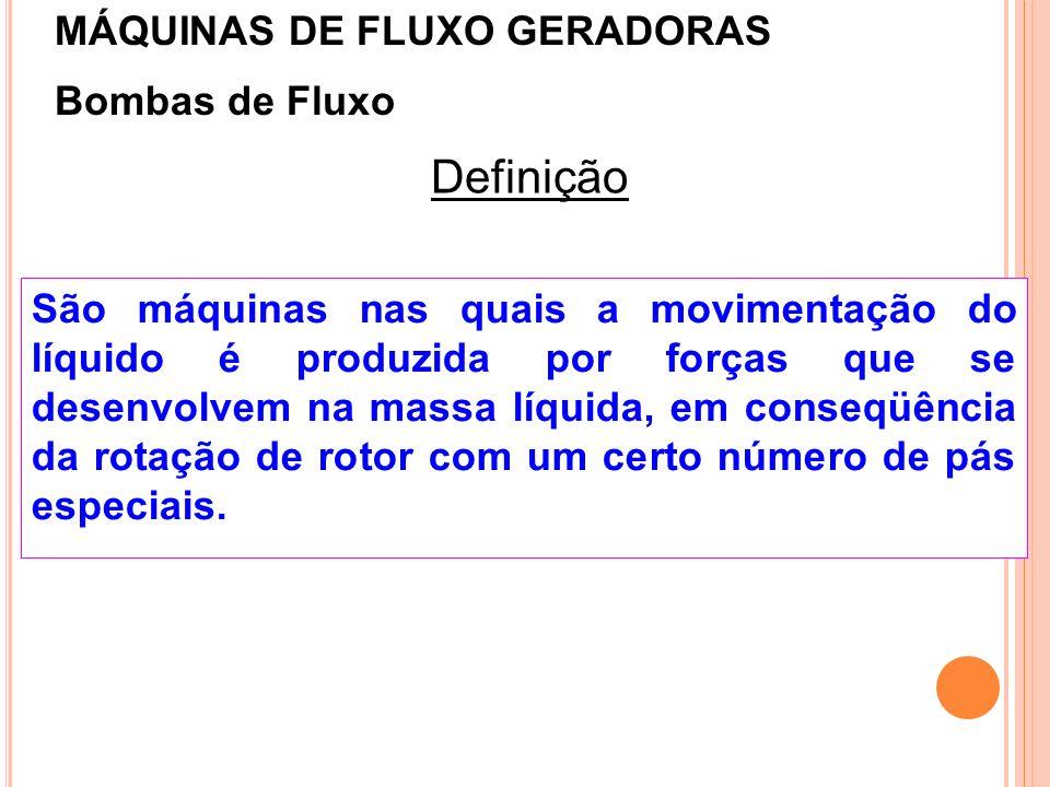 Bombas de Fluxo Definição São máquinas nas quais a movimentação do líquido é produzida por forças que se desenvolvem na massa líquida, em conseqüência
