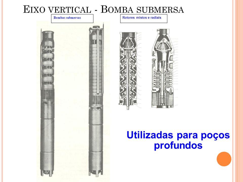 E IXO VERTICAL - B OMBA SUBMERSA Bombas submersas Rotores mistos e radiais Utilizadas para poços profundos