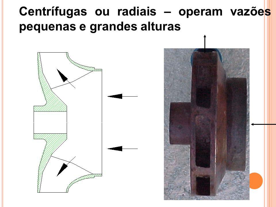 Centrífugas ou radiais – operam vazões pequenas e grandes alturas