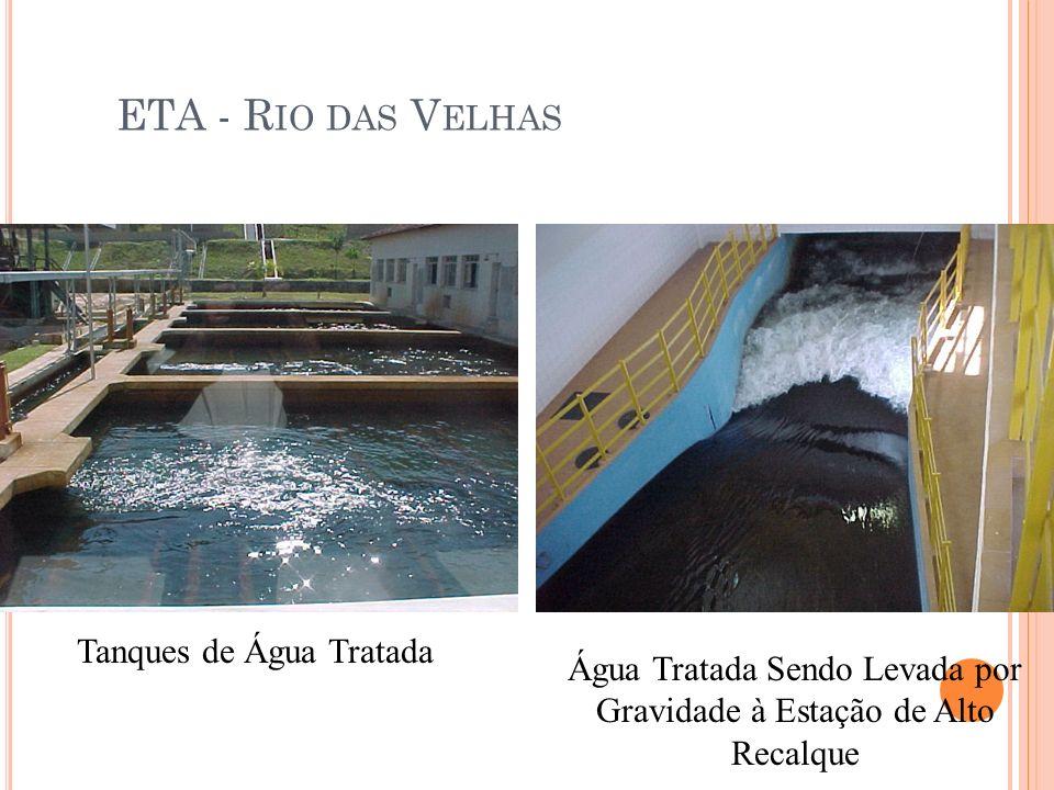ETA - R IO DAS V ELHAS Tanques de Água Tratada Água Tratada Sendo Levada por Gravidade à Estação de Alto Recalque