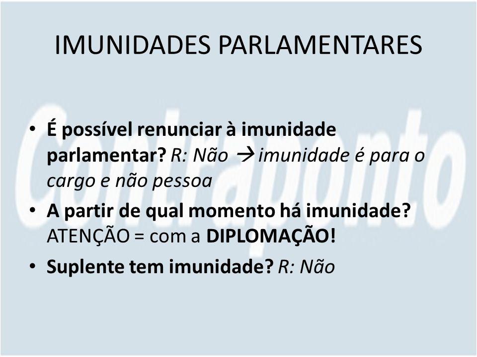 IMUNIDADES PARLAMENTARES É possível renunciar à imunidade parlamentar.