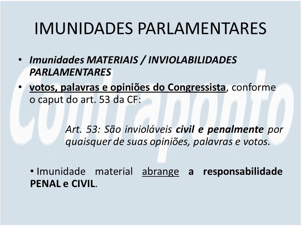 IMUNIDADES PARLAMENTARES Imunidades MATERIAIS / INVIOLABILIDADES PARLAMENTARES votos, palavras e opiniões do Congressista, conforme o caput do art.