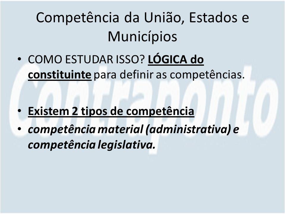 Competência da União, Estados e Municípios COMO ESTUDAR ISSO.
