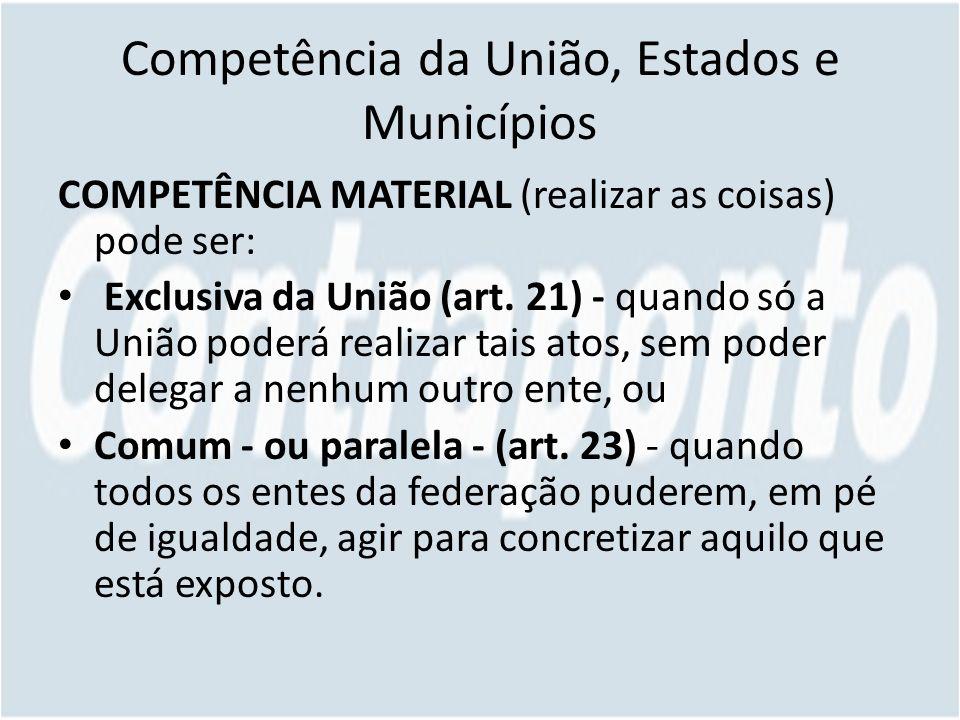 Competência da União, Estados e Municípios COMPETÊNCIA MATERIAL (realizar as coisas) pode ser: Exclusiva da União (art.