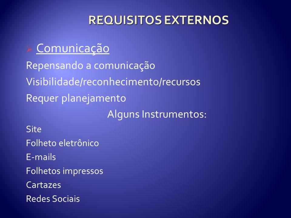 Comunicação Repensando a comunicação Visibilidade/reconhecimento/recursos Requer planejamento Alguns Instrumentos: Site Folheto eletrônico E-mails Folhetos impressos Cartazes Redes Sociais