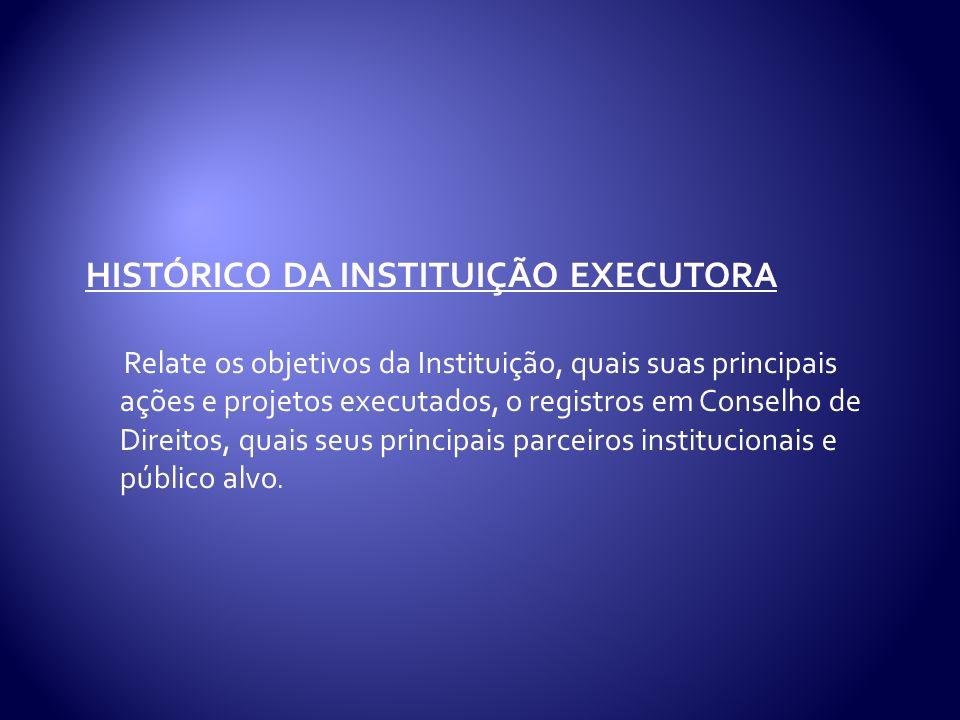 HISTÓRICO DA INSTITUIÇÃO EXECUTORA Relate os objetivos da Instituição, quais suas principais ações e projetos executados, o registros em Conselho de Direitos, quais seus principais parceiros institucionais e público alvo.