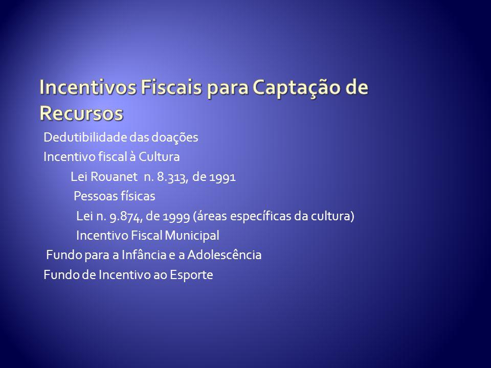 Dedutibilidade das doações Incentivo fiscal à Cultura Lei Rouanet n.