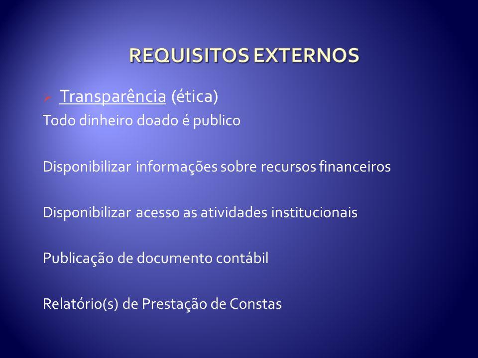 Transparência (ética) Todo dinheiro doado é publico Disponibilizar informações sobre recursos financeiros Disponibilizar acesso as atividades institucionais Publicação de documento contábil Relatório(s) de Prestação de Constas