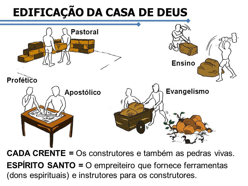 Pastoral Evangelismo Ensino Profético Apostólico CADA CRENTE = Os construtores e também as pedras vivas. ESPÍRITO SANTO = O empreiteiro que fornece fe