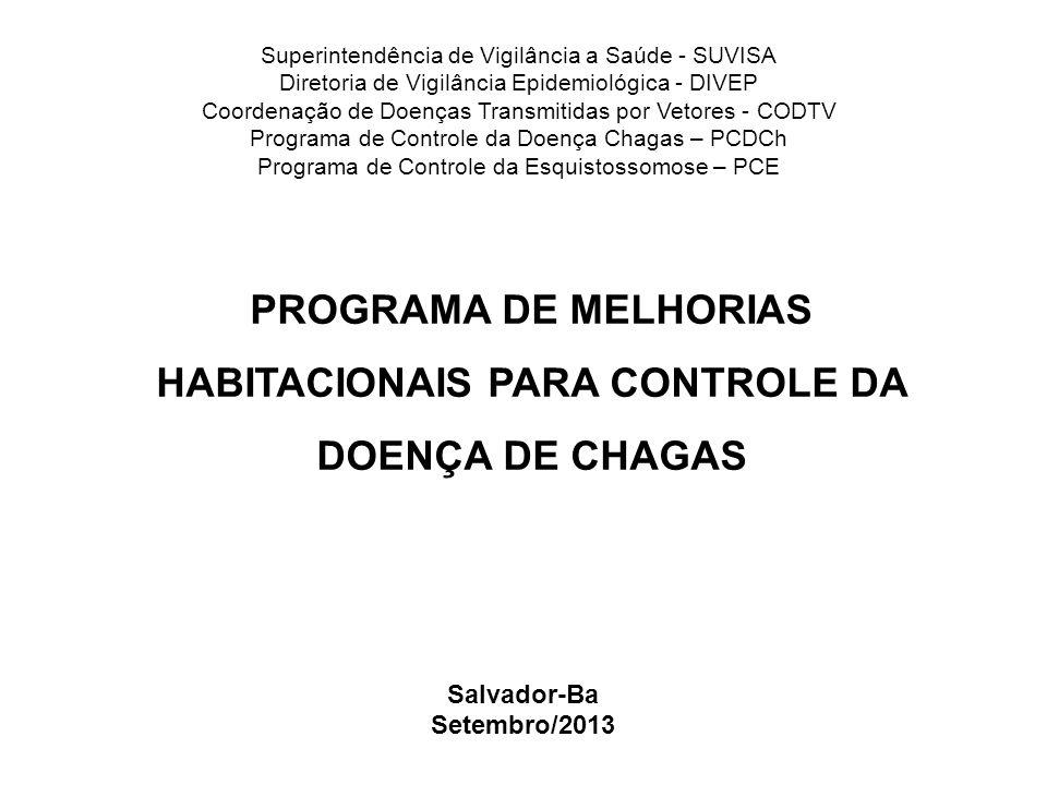 PROGRAMA DE MELHORIAS HABITACIONAIS PARA CONTROLE DA DOENÇA DE CHAGAS Salvador-Ba Setembro/2013 Superintendência de Vigilância a Saúde - SUVISA Direto