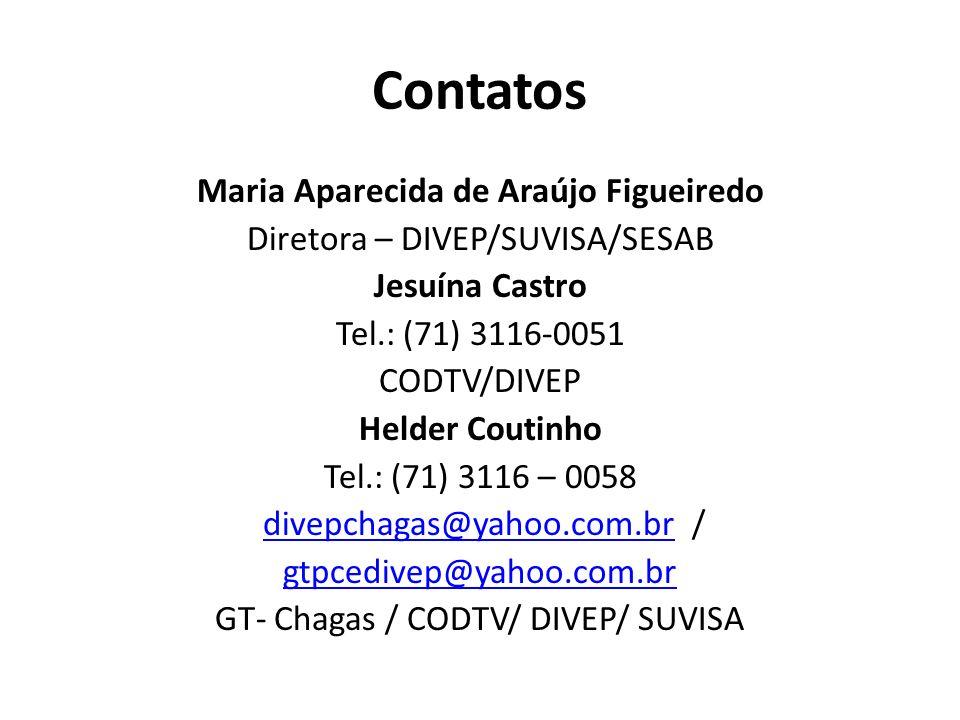 Contatos Maria Aparecida de Araújo Figueiredo Diretora – DIVEP/SUVISA/SESAB Jesuína Castro Tel.: (71) 3116-0051 CODTV/DIVEP Helder Coutinho Tel.: (71)