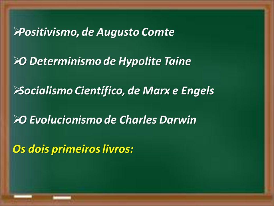 Positivismo, de Augusto Comte Positivismo, de Augusto Comte O Determinismo de Hypolite Taine O Determinismo de Hypolite Taine Socialismo Científico, d