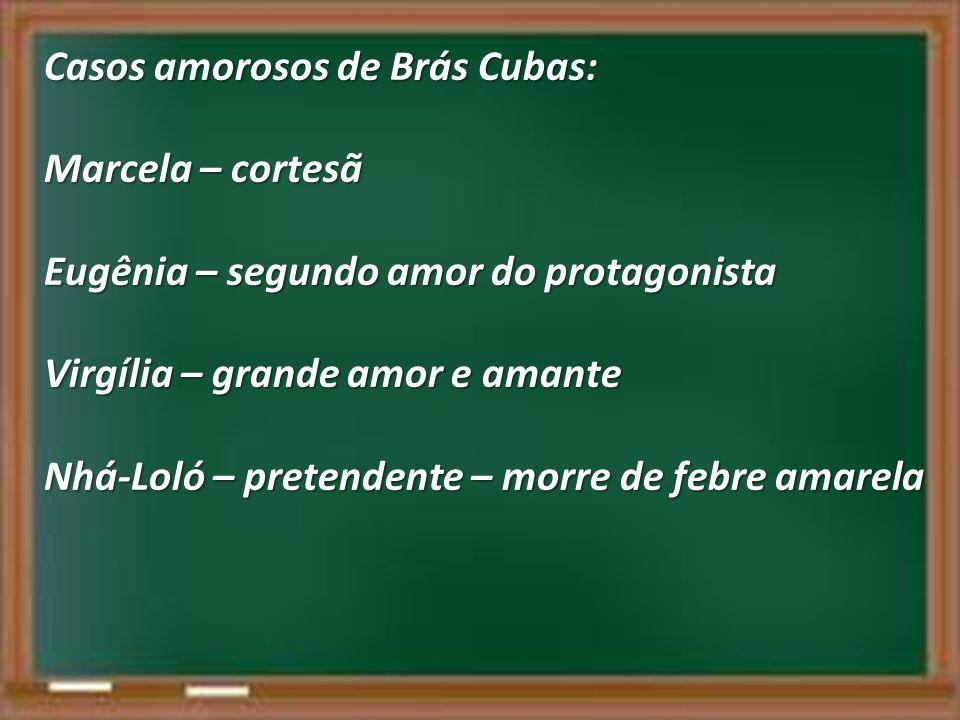 Casos amorosos de Brás Cubas: Marcela – cortesã Eugênia – segundo amor do protagonista Virgília – grande amor e amante Nhá-Loló – pretendente – morre