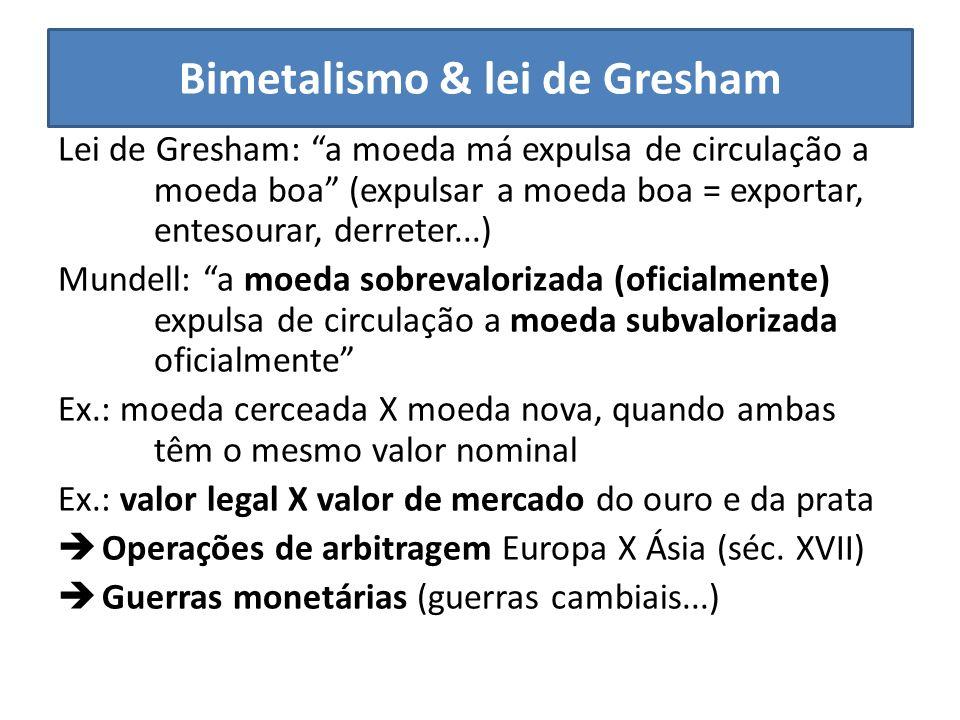 Bimetalismo & lei de Gresham Lei de Gresham: a moeda má expulsa de circulação a moeda boa (expulsar a moeda boa = exportar, entesourar, derreter...) M
