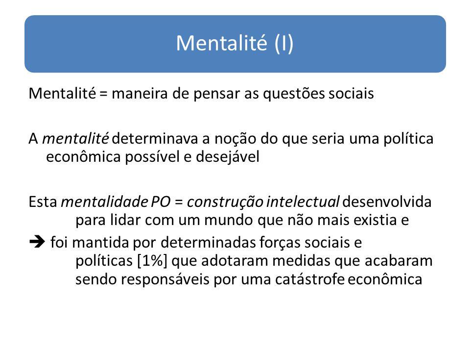 Mentalité (I) Mentalité = maneira de pensar as questões sociais A mentalité determinava a noção do que seria uma política econômica possível e desejáv