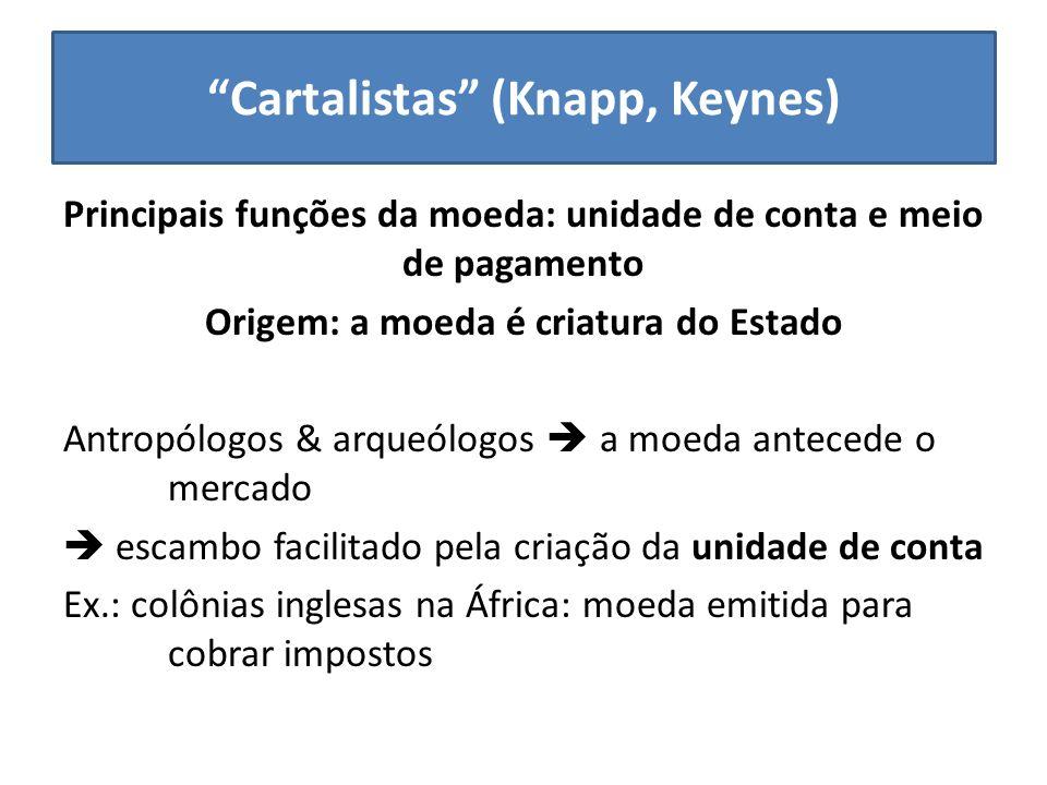 Cartalistas (Knapp, Keynes) Principais funções da moeda: unidade de conta e meio de pagamento Origem: a moeda é criatura do Estado Antropólogos & arqu