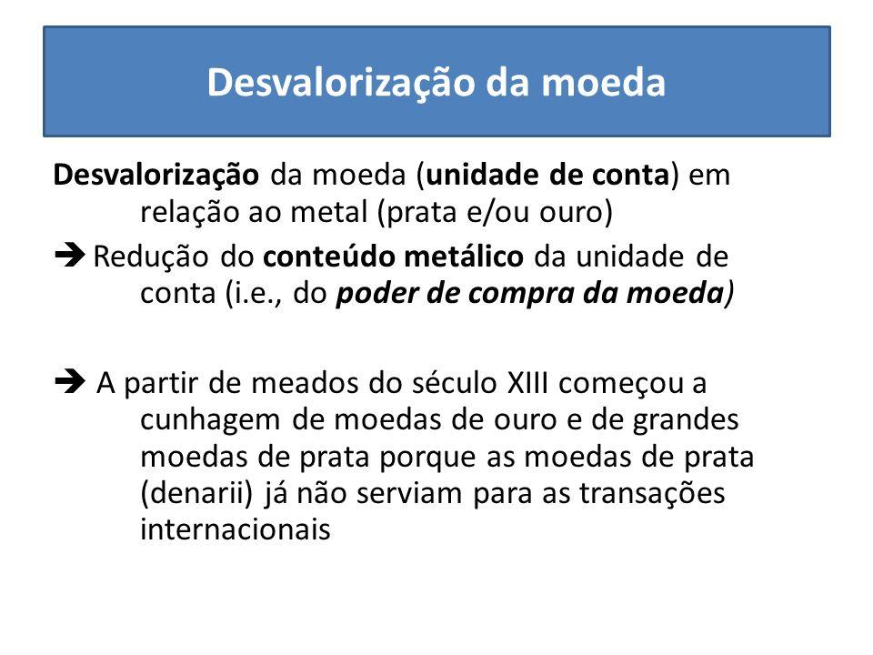 Desvalorização da moeda Desvalorização da moeda (unidade de conta) em relação ao metal (prata e/ou ouro) Redução do conteúdo metálico da unidade de co