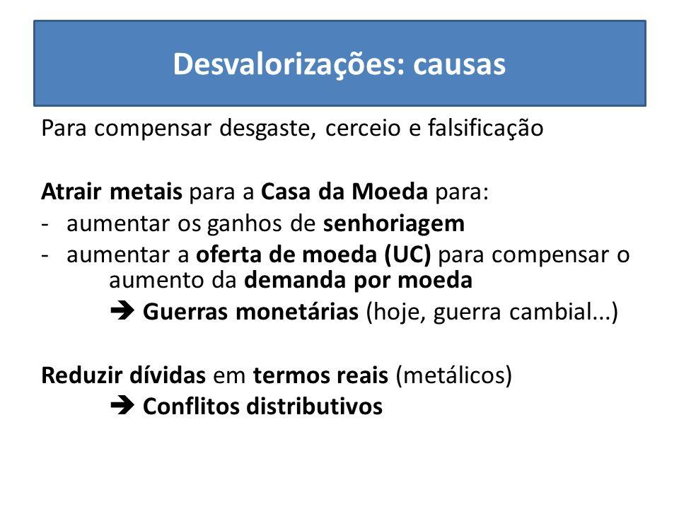 Desvalorizações: causas Para compensar desgaste, cerceio e falsificação Atrair metais para a Casa da Moeda para: -aumentar os ganhos de senhoriagem -a