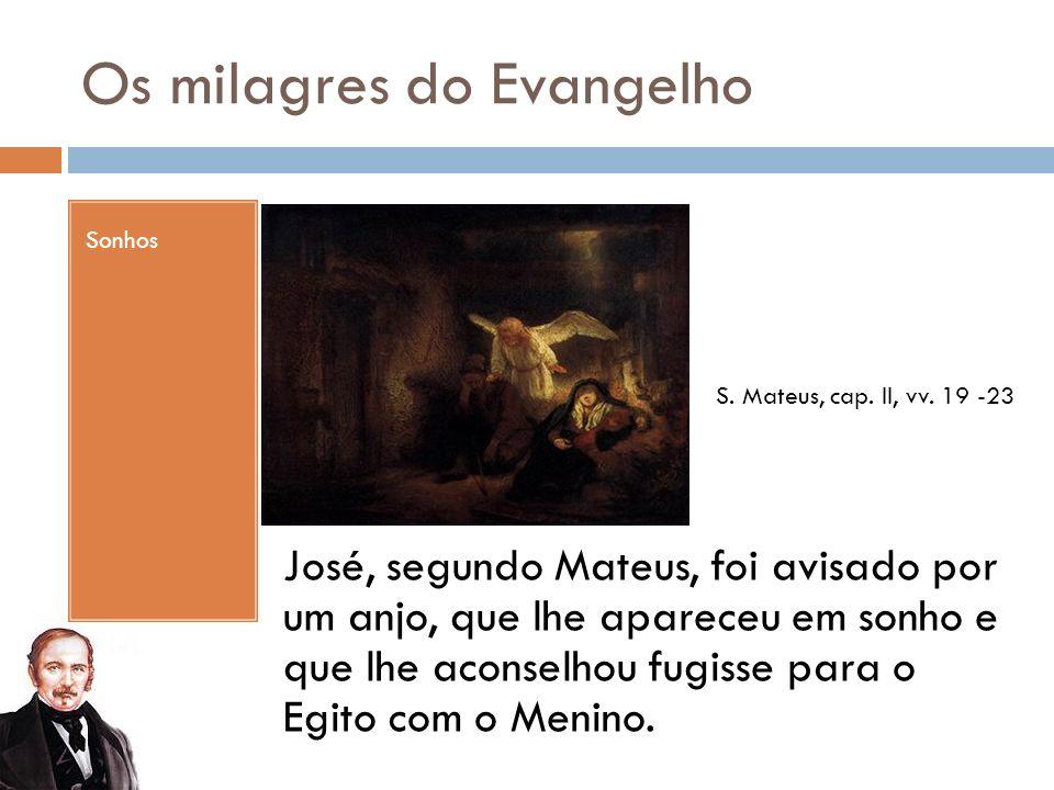 Os milagres do Evangelho Sonhos José, segundo Mateus, foi avisado por um anjo, que lhe apareceu em sonho e que lhe aconselhou fugisse para o Egito com