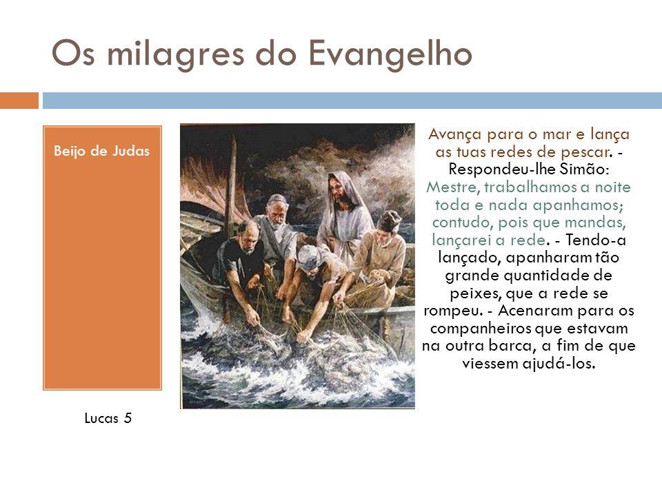 Os milagres do Evangelho Beijo de Judas Avança para o mar e lança as tuas redes de pescar. - Respondeu-lhe Simão: Mestre, trabalhamos a noite toda e n